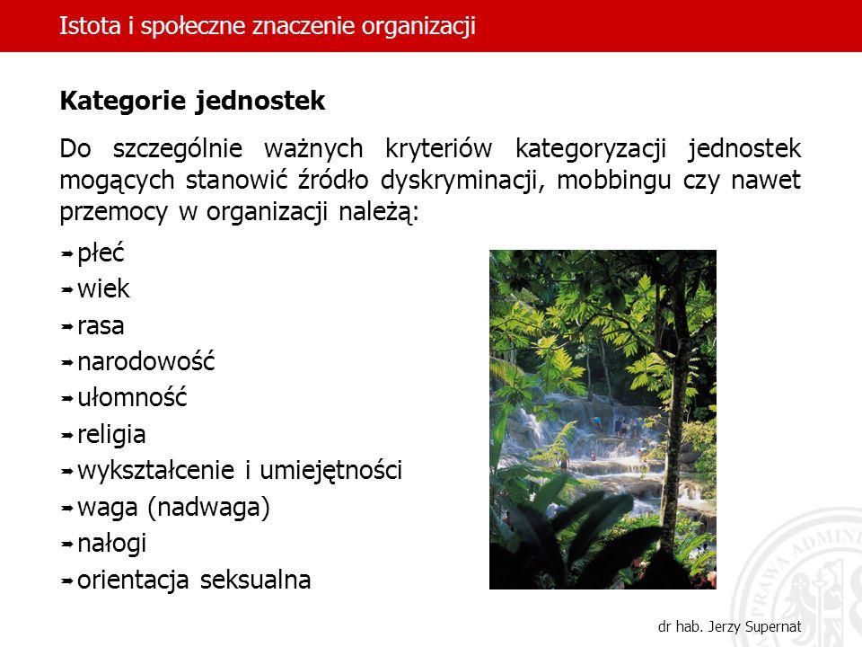 Istota i społeczne znaczenie organizacji dr hab. Jerzy Supernat Kategorie jednostek Do szczególnie ważnych kryteriów kategoryzacji jednostek mogących