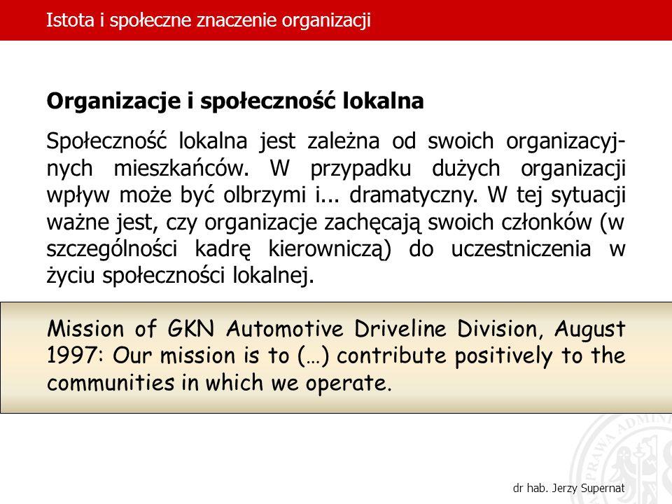 Istota i społeczne znaczenie organizacji dr hab. Jerzy Supernat Organizacje i społeczność lokalna Społeczność lokalna jest zależna od swoich organizac
