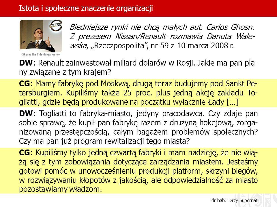 Istota i społeczne znaczenie organizacji dr hab. Jerzy Supernat DW: Renault zainwestował miliard dolarów w Rosji. Jakie ma pan pla- ny związane z tym