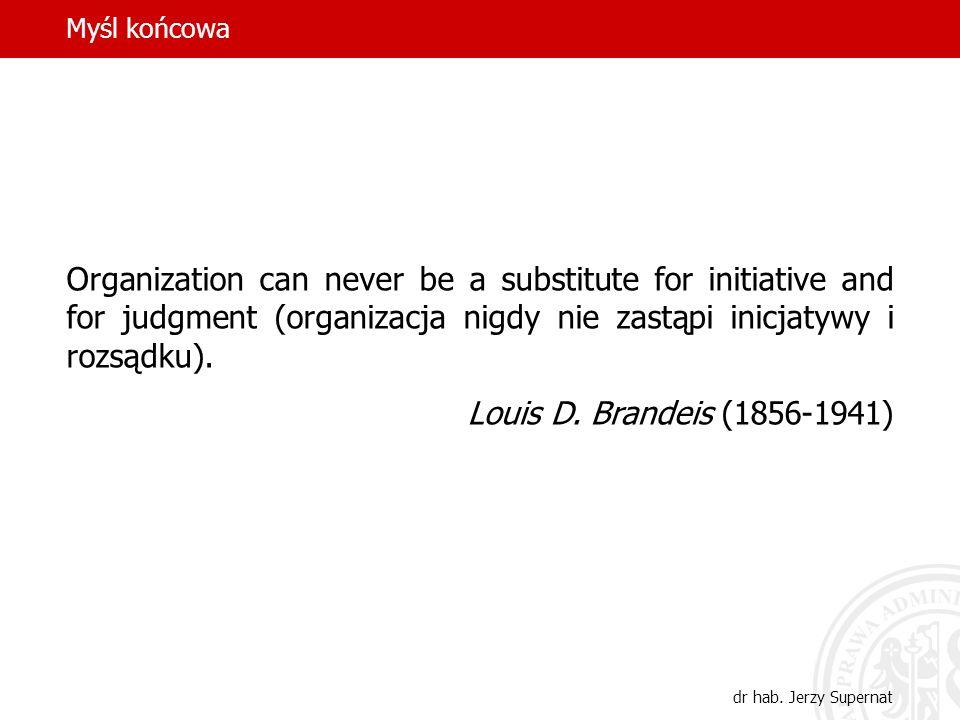 Myśl końcowa dr hab. Jerzy Supernat Organization can never be a substitute for initiative and for judgment (organizacja nigdy nie zastąpi inicjatywy i
