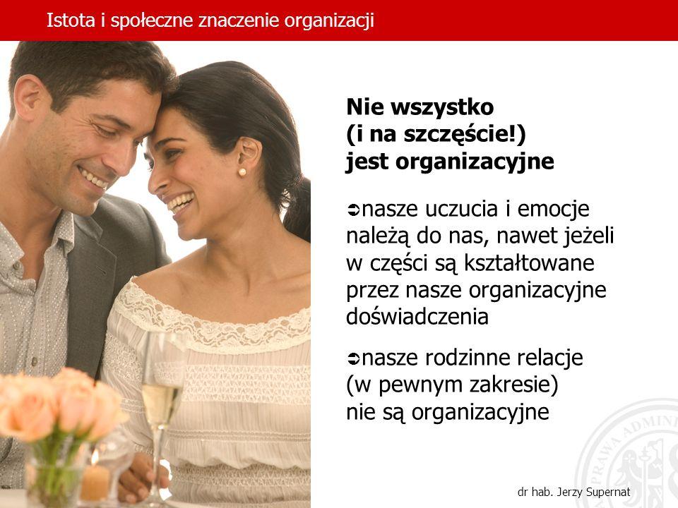 Istota i społeczne znaczenie organizacji dr hab. Jerzy Supernat Nie wszystko (i na szczęście!) jest organizacyjne nasze uczucia i emocje należą do nas