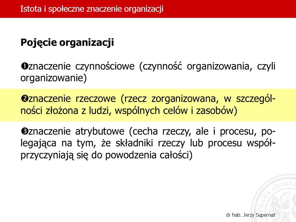 Istota i społeczne znaczenie organizacji dr hab. Jerzy Supernat Pojęcie organizacji znaczenie czynnościowe (czynność organizowania, czyli organizowani