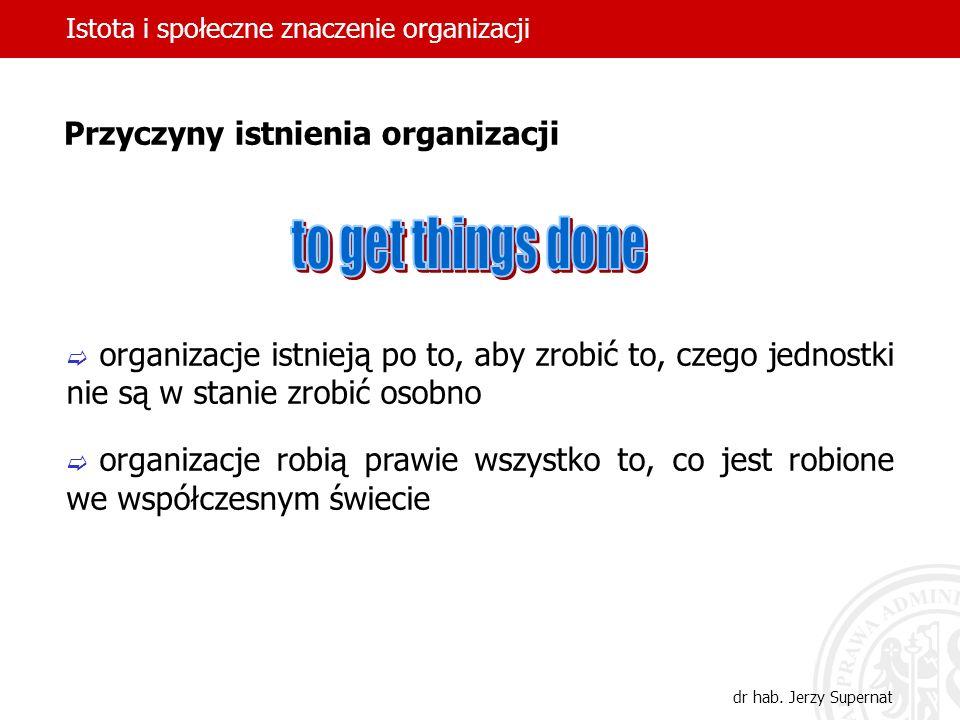 Istota i społeczne znaczenie organizacji dr hab. Jerzy Supernat organizacje istnieją po to, aby zrobić to, czego jednostki nie są w stanie zrobić osob