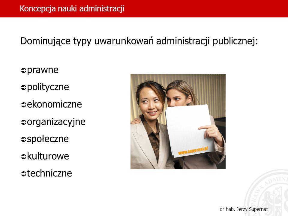 32 Dominujące typy uwarunkowań administracji publicznej: prawne polityczne ekonomiczne organizacyjne społeczne kulturowe techniczne Koncepcja nauki ad