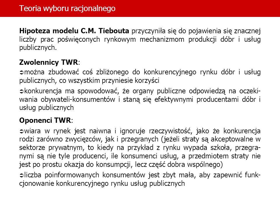 Teoria wyboru racjonalnego Hipoteza modelu C.M. Tiebouta przyczyniła się do pojawienia się znacznej liczby prac poświęconych rynkowym mechanizmom prod