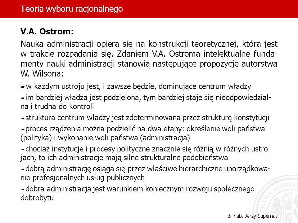 Teoria wyboru racjonalnego dr hab. Jerzy Supernat V.A. Ostrom: Nauka administracji opiera się na konstrukcji teoretycznej, która jest w trakcie rozpad