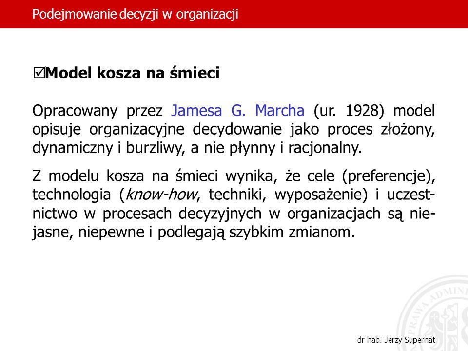 Podejmowanie decyzji w organizacji dr hab. Jerzy Supernat Model kosza na śmieci Opracowany przez Jamesa G. Marcha (ur. 1928) model opisuje organizacyj