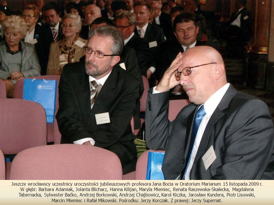 Jeszcze wrocławscy uczestnicy uroczystości jubileuszowych profesora Jana Bocia w Oratorium Marianum 15 listopada 2009 r.