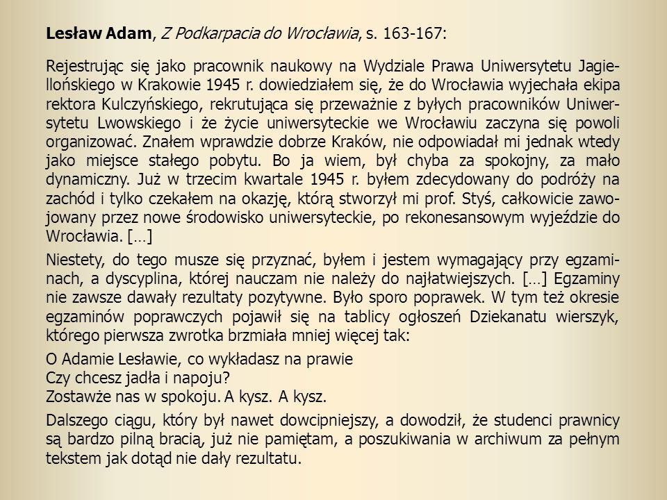 Lesław Adam, Z Podkarpacia do Wrocławia, s.