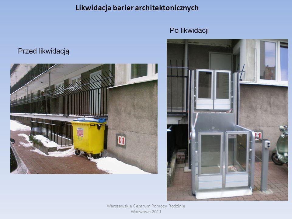 Likwidacja barier architektonicznych Warszawskie Centrum Pomocy Rodzinie Warszawa 2011 Przed likwidacją Po likwidacji