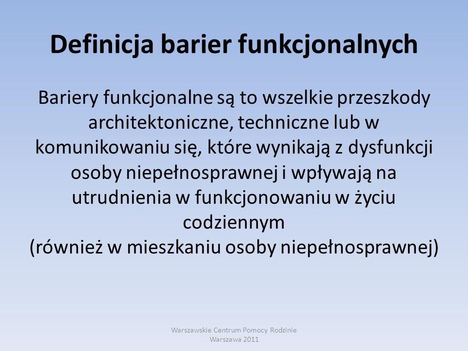 Definicja barier funkcjonalnych Bariery funkcjonalne są to wszelkie przeszkody architektoniczne, techniczne lub w komunikowaniu się, które wynikają z