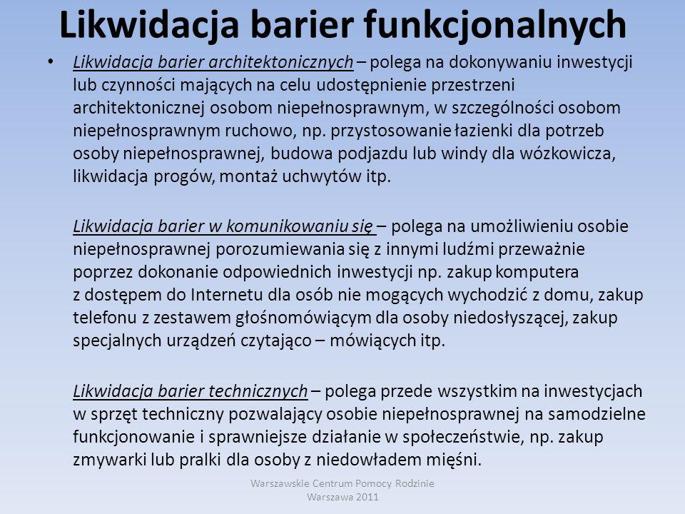 Likwidacja barier funkcjonalnych Zadanie dofinansowywania likwidacji barier funkcjonalnych stanowi jedno z zadań powiatowych centrów pomocy rodzinie.