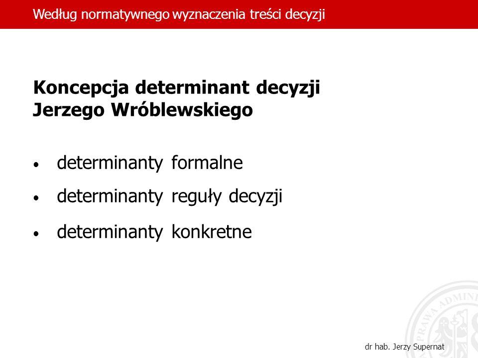 23 Koncepcja determinant decyzji Jerzego Wróblewskiego determinanty formalne determinanty reguły decyzji determinanty konkretne Według normatywnego wy