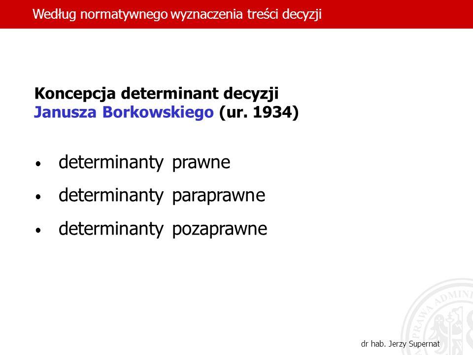 29 Koncepcja determinant decyzji Janusza Borkowskiego (ur. 1934) determinanty prawne determinanty paraprawne determinanty pozaprawne Według normatywne