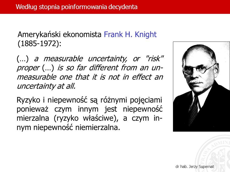 45 Amerykański ekonomista Frank H. Knight (1885-1972): (…) a measurable uncertainty, or