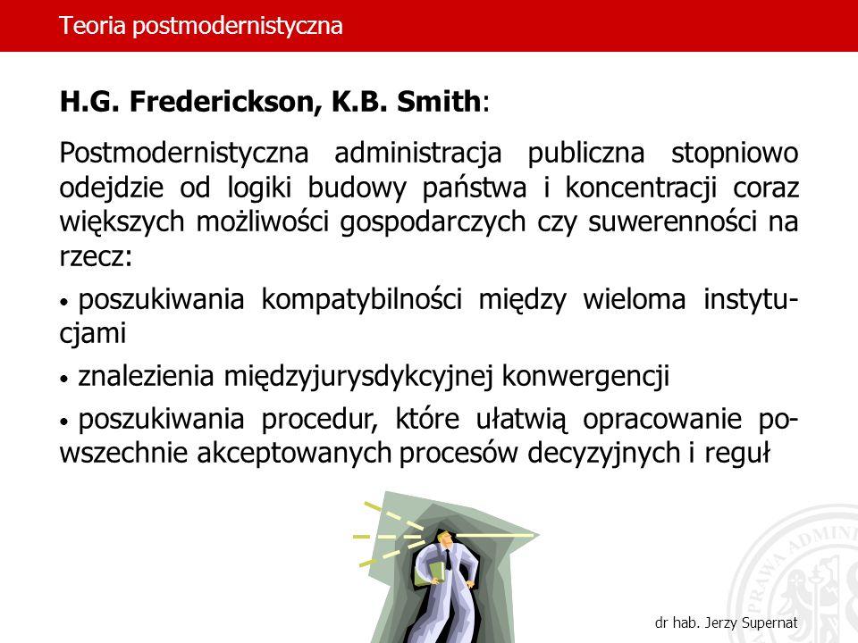 Teoria postmodernistyczna dr hab. Jerzy Supernat H.G. Frederickson, K.B. Smith: Postmodernistyczna administracja publiczna stopniowo odejdzie od logik
