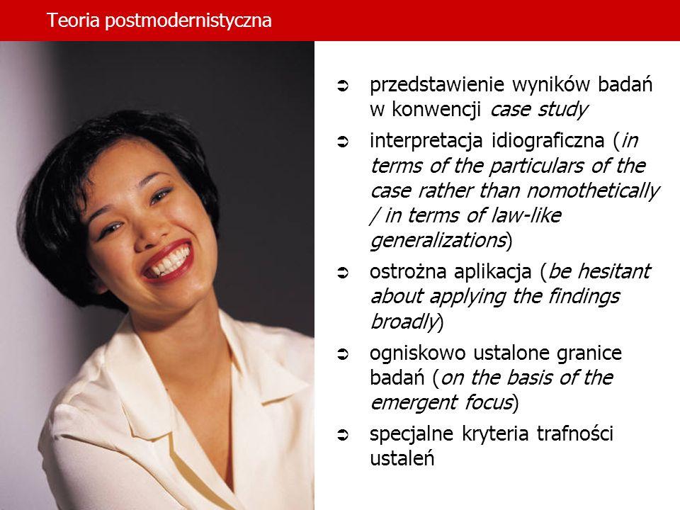 Teoria postmodernistyczna przedstawienie wyników badań w konwencji case study interpretacja idiograficzna (in terms of the particulars of the case rat