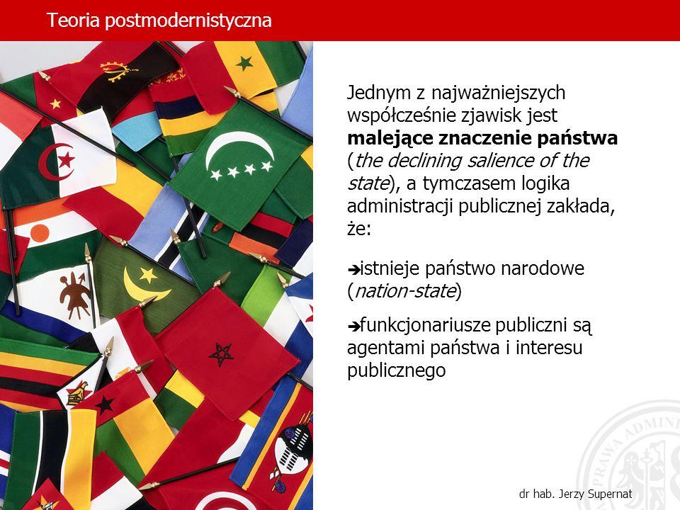 Teoria postmodernistyczna dr hab. Jerzy Supernat Jednym z najważniejszych współcześnie zjawisk jest malejące znaczenie państwa (the declining salience