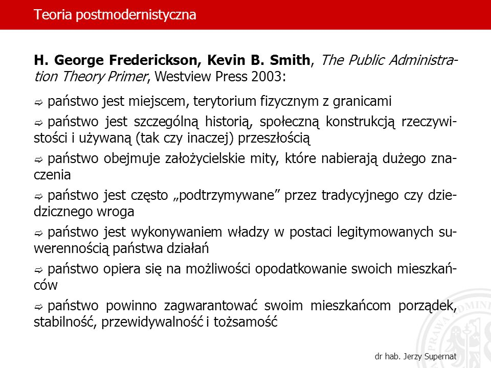 Teoria postmodernistyczna dr hab. Jerzy Supernat H. George Frederickson, Kevin B. Smith, The Public Administra- tion Theory Primer, Westview Press 200
