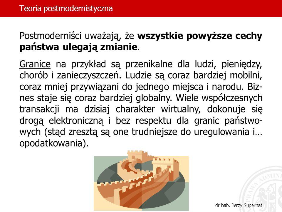 Teoria postmodernistyczna dr hab. Jerzy Supernat Postmoderniści uważają, że wszystkie powyższe cechy państwa ulegają zmianie. Granice na przykład są p