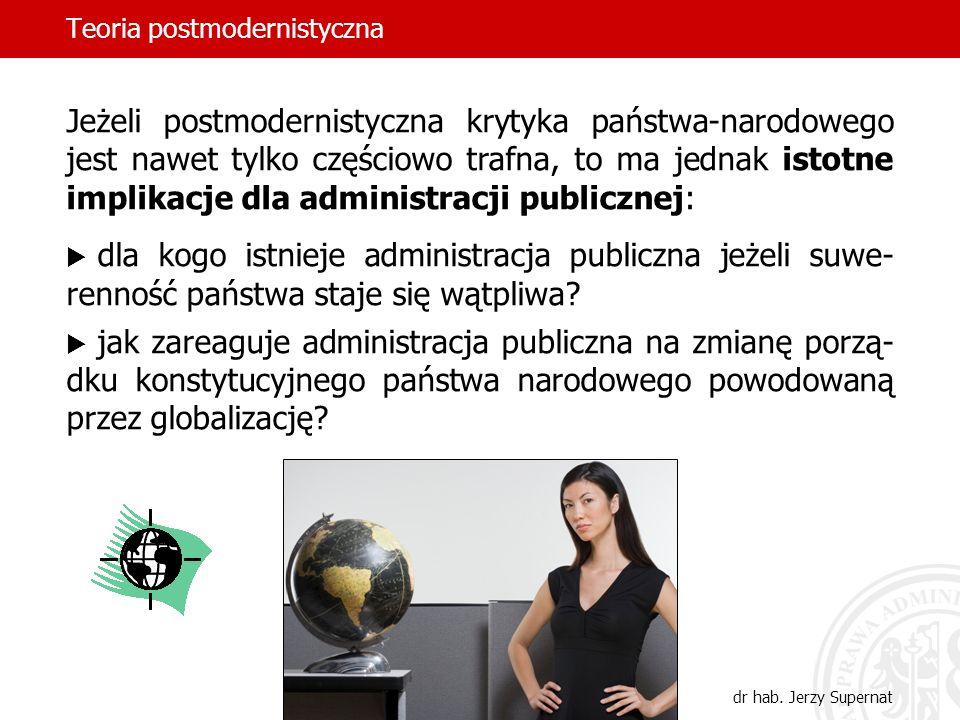 Teoria postmodernistyczna dr hab. Jerzy Supernat Jeżeli postmodernistyczna krytyka państwa-narodowego jest nawet tylko częściowo trafna, to ma jednak