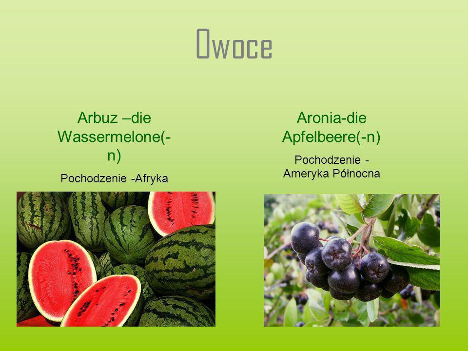 Owoce Arbuz –die Wassermelone(- n) Pochodzenie -Afryka Aronia-die Apfelbeere(-n) Pochodzenie - Ameryka Północna