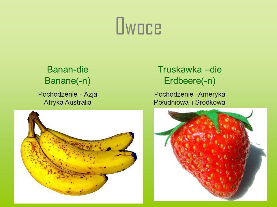 Owoce Banan-die Banane(-n) Pochodzenie - Azja Afryka Australia Truskawka –die Erdbeere(-n) Pochodzenie -Ameryka Południowa i Środkowa