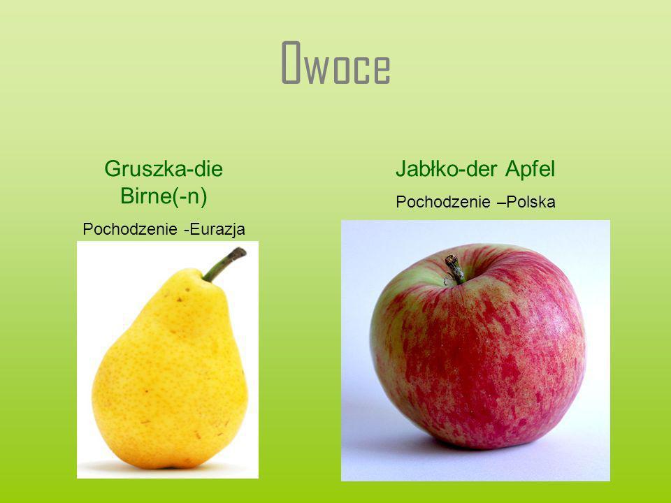 Owoce Gruszka-die Birne(-n) Pochodzenie -Eurazja Jabłko-der Apfel Pochodzenie –Polska