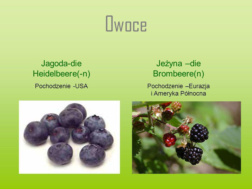 Owoce Jagoda-die Heidelbeere(-n) Pochodzenie -USA Jeżyna –die Brombeere(n) Pochodzenie –Eurazja i Ameryka Północna
