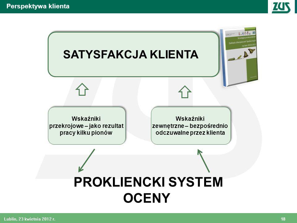 18 Lublin, 23 kwietnia 2012 r. PROKLIENCKI SYSTEM OCENY Wskaźniki zewnętrzne – bezpośrednio odczuwalne przez klienta Wskaźniki zewnętrzne – bezpośredn