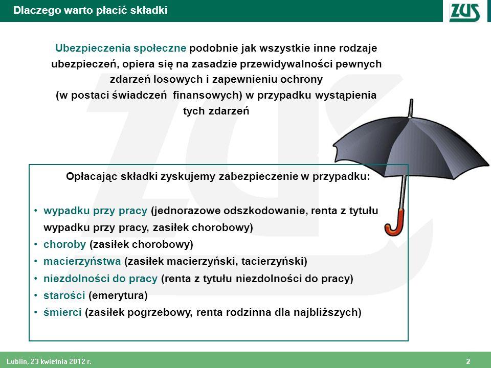 2 Lublin, 23 kwietnia 2012 r. Dlaczego warto płacić składki Ubezpieczenia społeczne podobnie jak wszystkie inne rodzaje ubezpieczeń, opiera się na zas