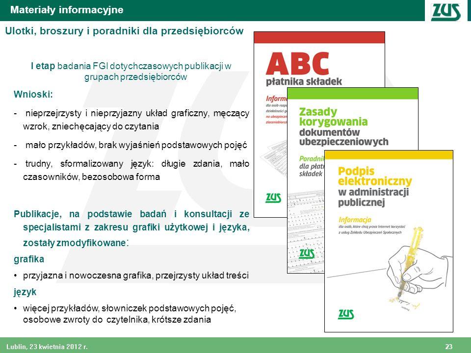 23 Lublin, 23 kwietnia 2012 r. Materiały informacyjne I etap badania FGI dotychczasowych publikacji w grupach przedsiębiorców Wnioski: - nieprzejrzyst