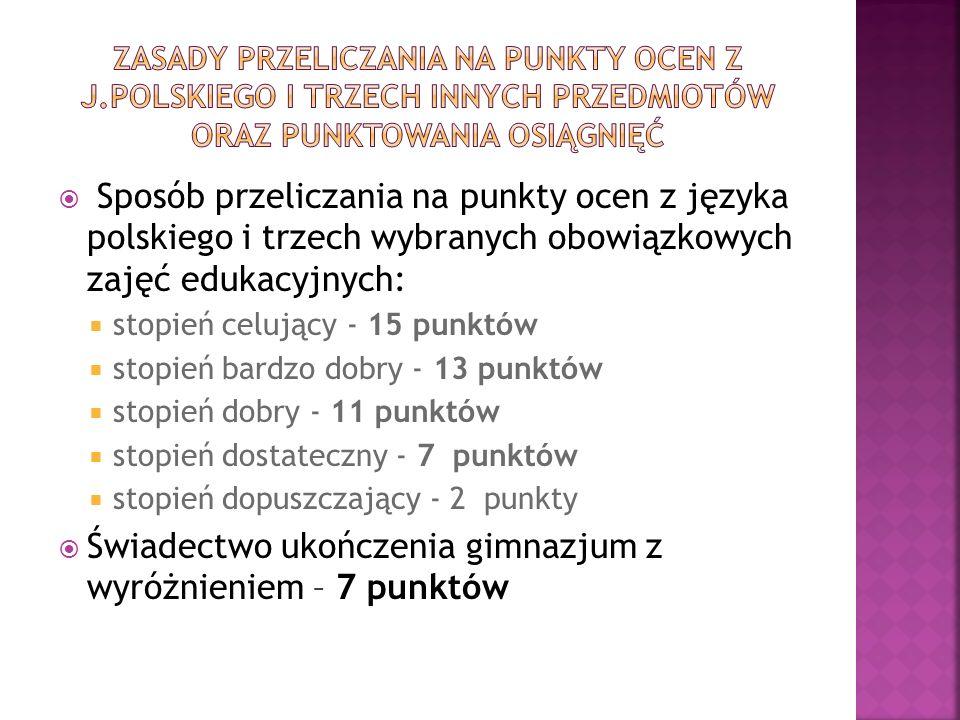 Sposób przeliczania na punkty ocen z języka polskiego i trzech wybranych obowiązkowych zajęć edukacyjnych: stopień celujący - 15 punktów stopień bardzo dobry - 13 punktów stopień dobry - 11 punktów stopień dostateczny - 7 punktów stopień dopuszczający - 2 punkty Świadectwo ukończenia gimnazjum z wyróżnieniem – 7 punktów