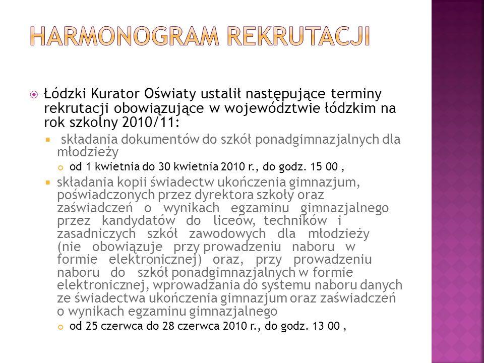 Łódzki Kurator Oświaty ustalił następujące terminy rekrutacji obowiązujące w województwie łódzkim na rok szkolny 2010/11: składania dokumentów do szkół ponadgimnazjalnych dla młodzieży od 1 kwietnia do 30 kwietnia 2010 r., do godz.