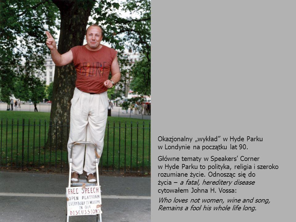 Okazjonalny wykład w Hyde Parku w Londynie na początku lat 90. Główne tematy w Speakers Corner w Hyde Parku to polityka, religia i szeroko rozumiane ż