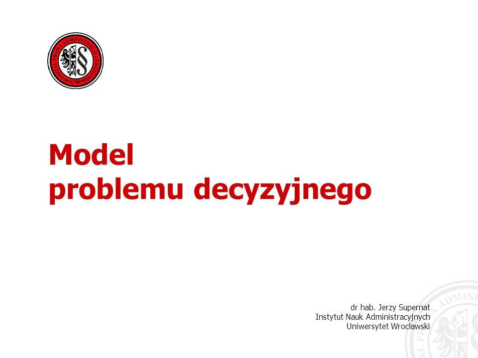 2 podmiot podejmujący decyzje zbiór kierunków działania zbiór stanów świata zewnętrznego funkcja korzyści niepewność co do stanu świata zewnętrznego W strukturze problemu decyzyjnego można wyróżnić pięć podstawowych elementów: Model problemu decyzyjnego dr hab.