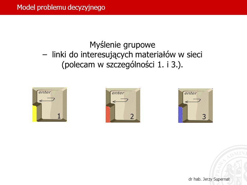 10 Model problemu decyzyjnego dr hab. Jerzy Supernat Myślenie grupowe – linki do interesujących materiałów w sieci (polecam w szczególności 1. i 3.).