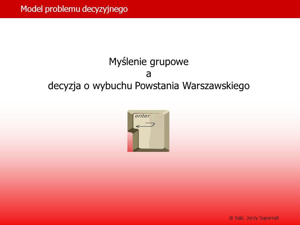 11 Model problemu decyzyjnego dr hab. Jerzy Supernat Myślenie grupowe a decyzja o wybuchu Powstania Warszawskiego