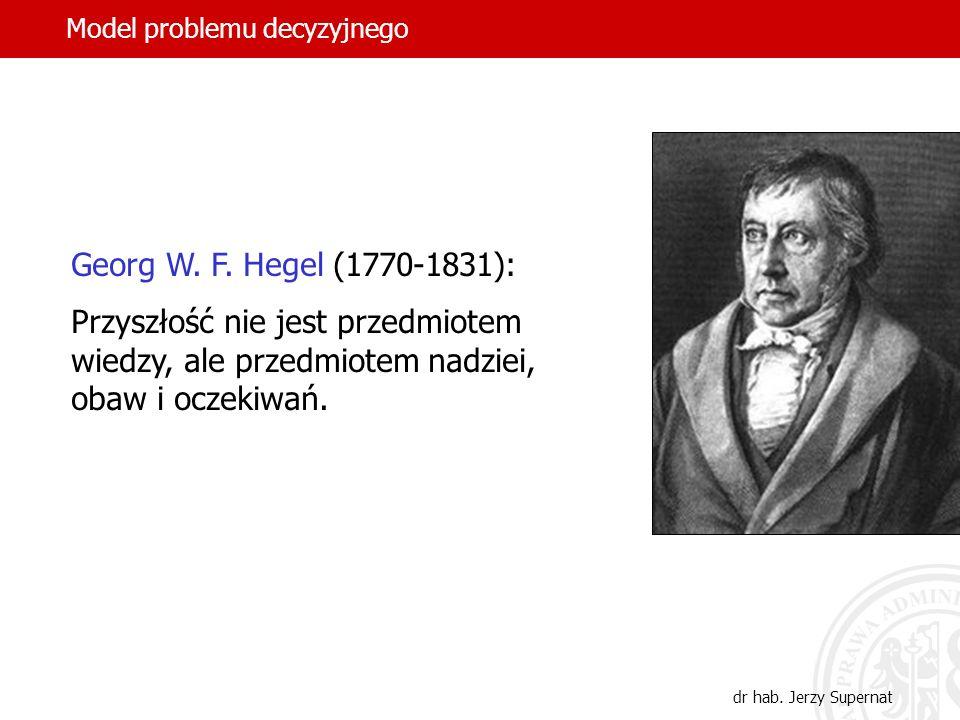 31 Georg W. F. Hegel (1770-1831): Przyszłość nie jest przedmiotem wiedzy, ale przedmiotem nadziei, obaw i oczekiwań. dr hab. Jerzy Supernat Model prob