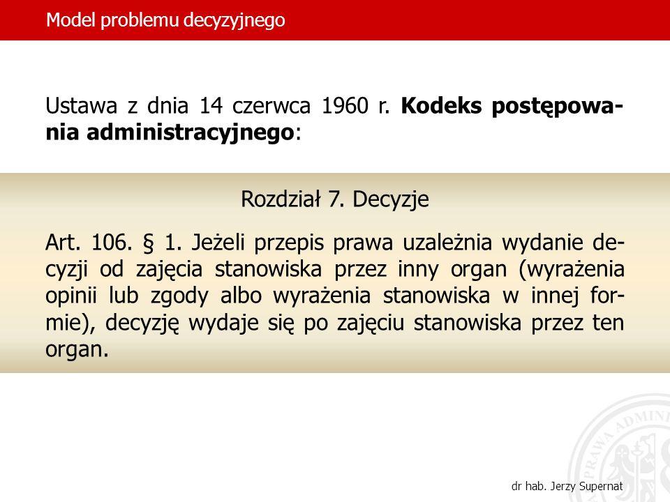 5 Ustawa z dnia 14 czerwca 1960 r. Kodeks postępowa- nia administracyjnego: Rozdział 7. Decyzje Art. 106. § 1. Jeżeli przepis prawa uzależnia wydanie