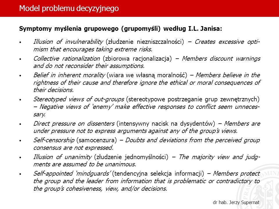 9 Model problemu decyzyjnego dr hab. Jerzy Supernat Symptomy myślenia grupowego (grupomyśli) według I.L. Janisa: Illusion of invulnerability (złudzeni