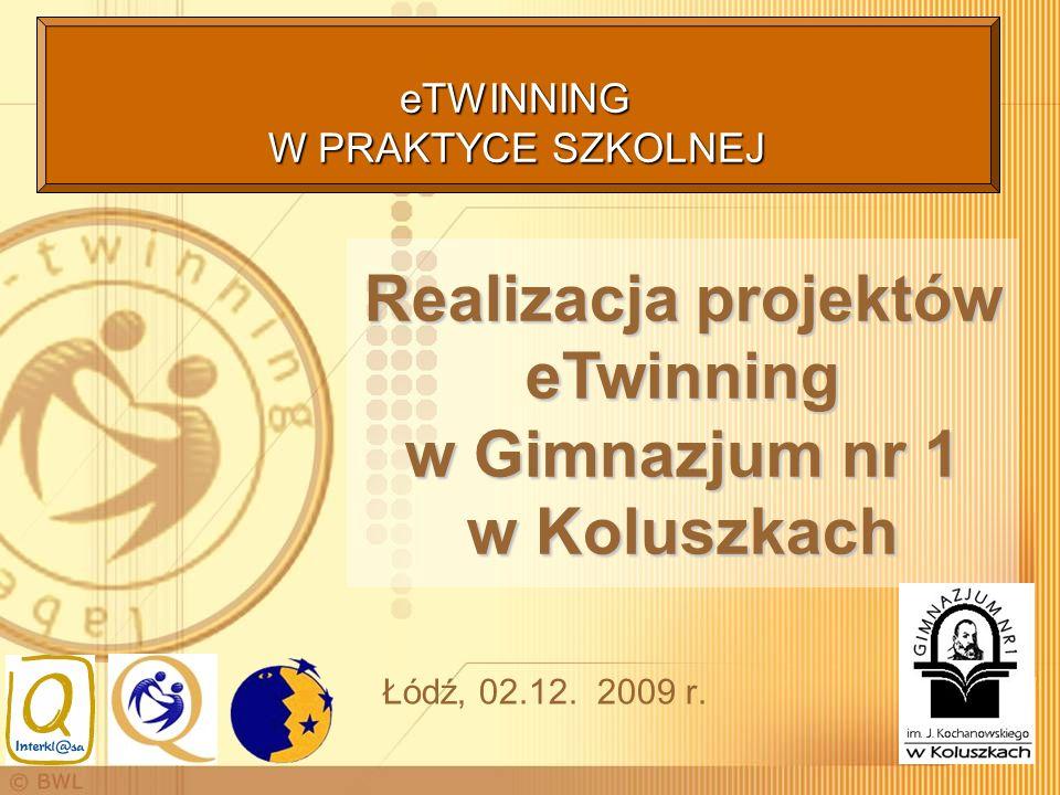 Łódź, 02.12. 2009 r. Realizacja projektów eTwinning w Gimnazjum nr 1 w Koluszkach eTWINNING W PRAKTYCE SZKOLNEJ eTWINNING W PRAKTYCE SZKOLNEJ
