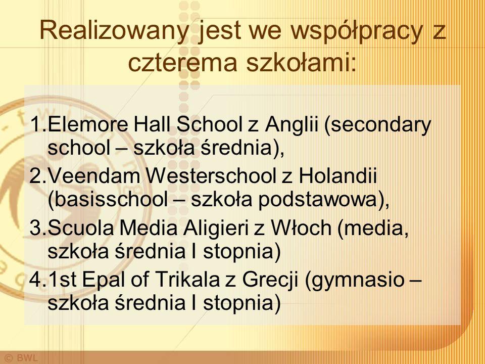 Realizowany jest we współpracy z czterema szkołami: 1.Elemore Hall School z Anglii (secondary school – szkoła średnia), 2.Veendam Westerschool z Holandii (basisschool – szkoła podstawowa), 3.Scuola Media Aligieri z Włoch (media, szkoła średnia I stopnia) 4.1st Epal of Trikala z Grecji (gymnasio – szkoła średnia I stopnia)