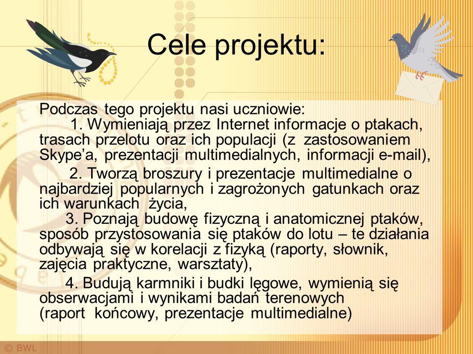 Cele projektu: Podczas tego projektu nasi uczniowie: 1. Wymieniają przez Internet informacje o ptakach, trasach przelotu oraz ich populacji (z zastoso