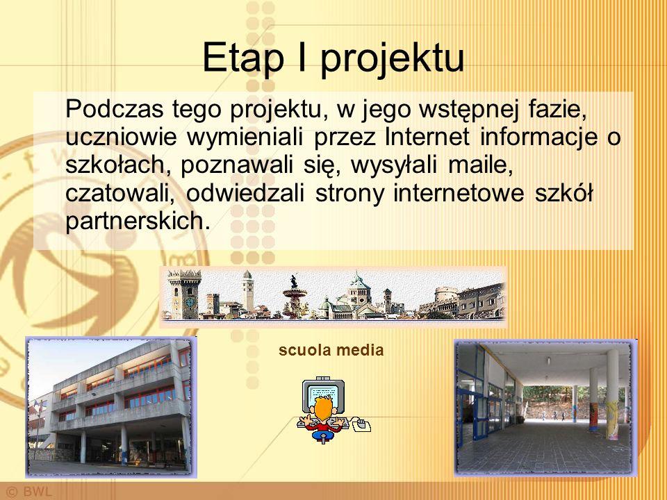 Etap I projektu Podczas tego projektu, w jego wstępnej fazie, uczniowie wymieniali przez Internet informacje o szkołach, poznawali się, wysyłali maile, czatowali, odwiedzali strony internetowe szkół partnerskich.
