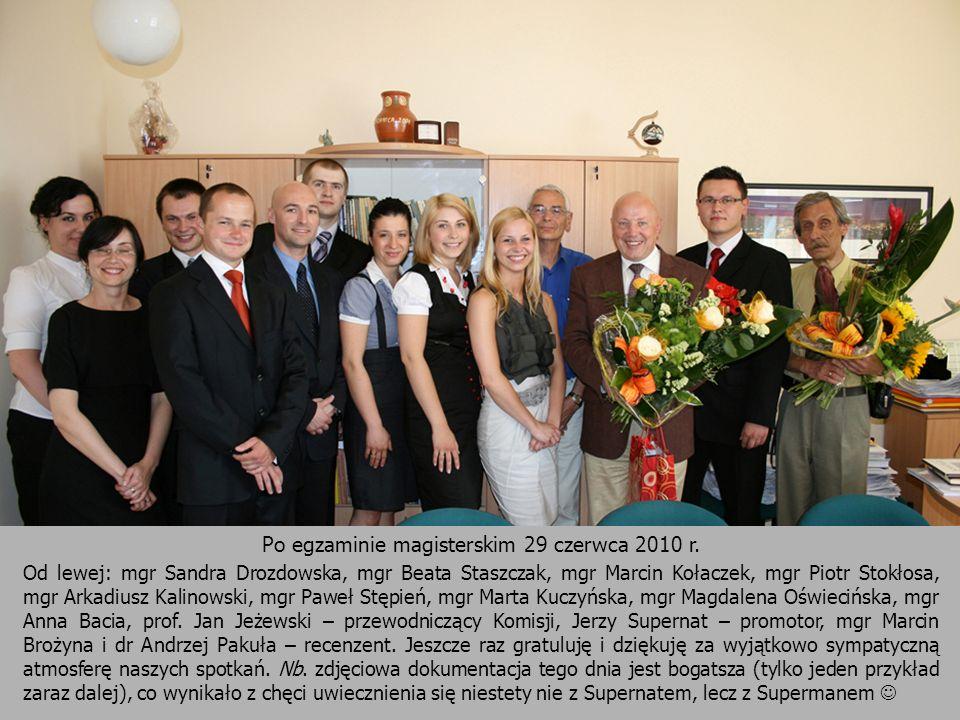 Po egzaminie magisterskim 29 czerwca 2010 r. Od lewej: mgr Sandra Drozdowska, mgr Beata Staszczak, mgr Marcin Kołaczek, mgr Piotr Stokłosa, mgr Arkadi