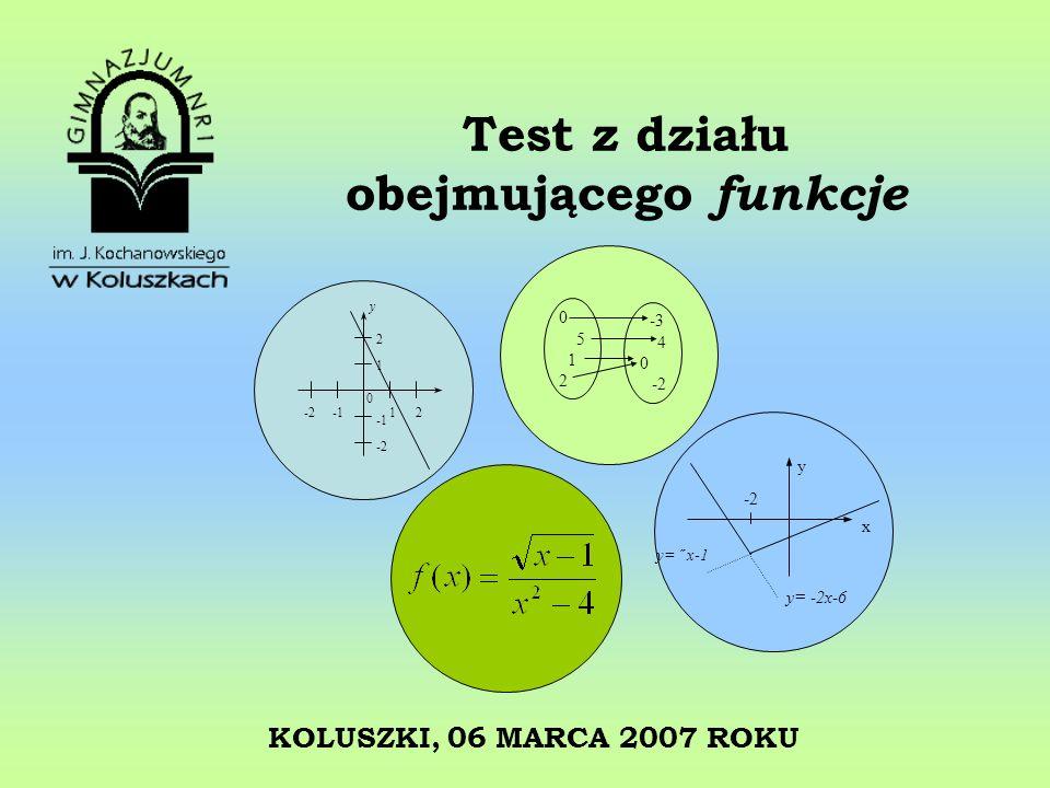 Test z działu obejmującego funkcje KOLUSZKI, 06 MARCA 2007 ROKU 2 1 -2 -2 -1 1 2 0 y 05120512 -3 4 0 -2 x y y= -2x-6 y= ˝ x-1