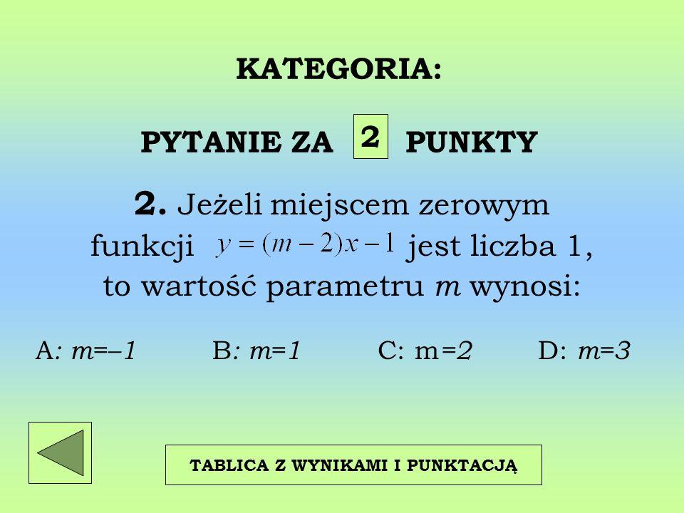 KATEGORIA: PYTANIE ZA PUNKTY 2. Jeżeli miejscem zerowym funkcji jest liczba 1, to wartość parametru m wynosi: 2 TABLICA Z WYNIKAMI I PUNKTACJĄ A : m=–