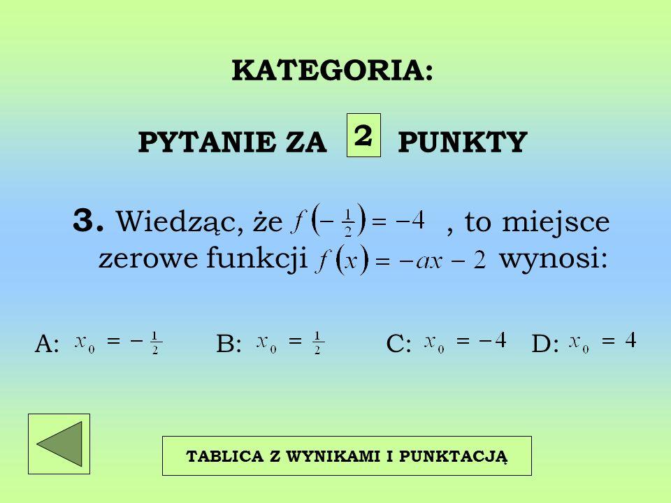 KATEGORIA: PYTANIE ZA PUNKTY 3. Wiedząc, że, to miejsce zerowe funkcji wynosi: 2 TABLICA Z WYNIKAMI I PUNKTACJĄ A: B: C: D: