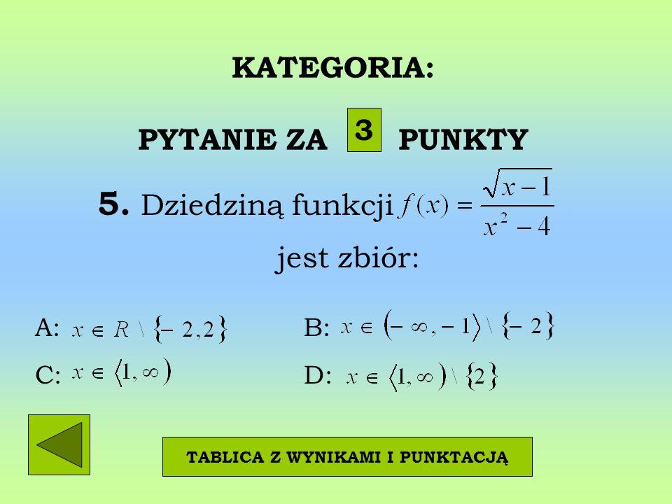 KATEGORIA: PYTANIE ZA PUNKTY 5. Dziedziną funkcji. jest zbiór: 3 TABLICA Z WYNIKAMI I PUNKTACJĄ A: B: C: D: